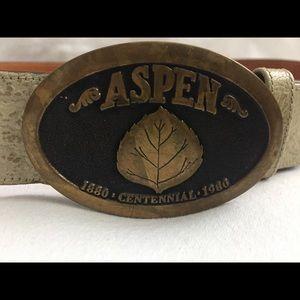 Aspen CO Centennial Leather Steerhide Belt Boho